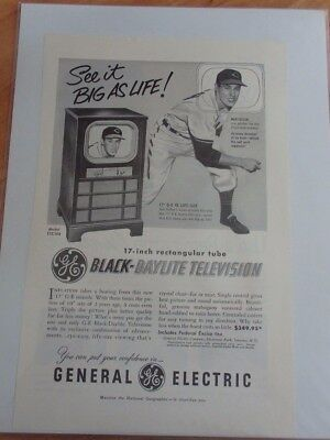 1952-54 Advertisement For General Electric With Cleveland Indias Bob Feller