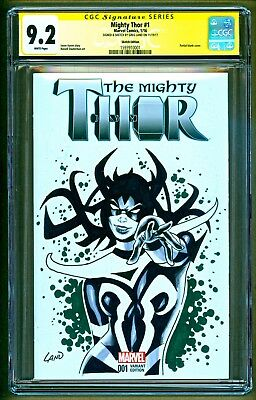The Mighty Thor #1 2016 Marvel Hela Original Art Sketch Signed Greg Land CGC 9.2