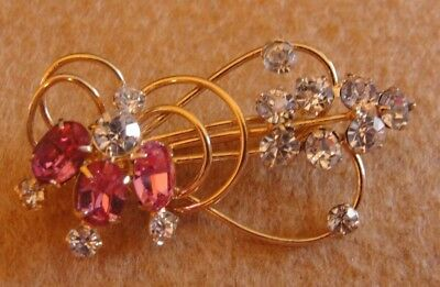 Vintage Pink And Clear Rhinestones Gold Flower Floral Brooch Pin Pendant
