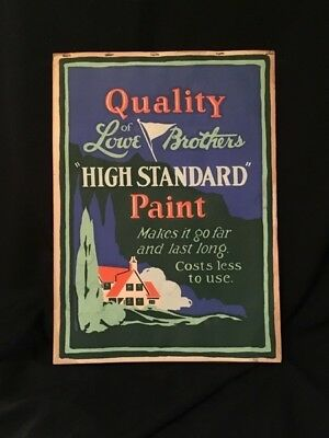 Large Store Advertising Sign Lowe Bros Paint Easel Back, 4 Flip Pages 1930's