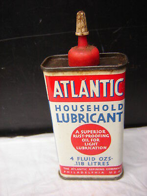 Vintage Atlantic Household Lubricant  4 oz Oil Tin Can