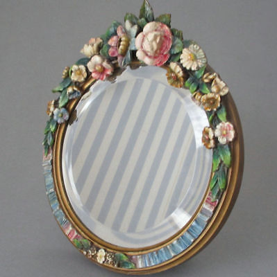 """Antique 11"""" English BARBOLA Vanity MIRROR w Stand Swag of FLOWERS Ribbons c1920s"""