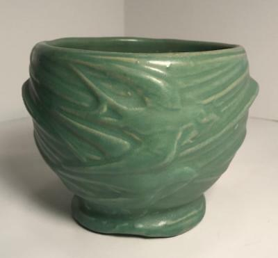 Vintage 1935 McCoy pottery Flying Birds Swallows Vase Planter Matte Green
