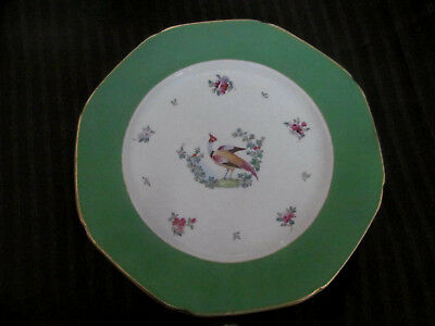 Vintage Pheasant Bird Plate~Whieldon Ware F Winkle & Co England~Green Border 20s