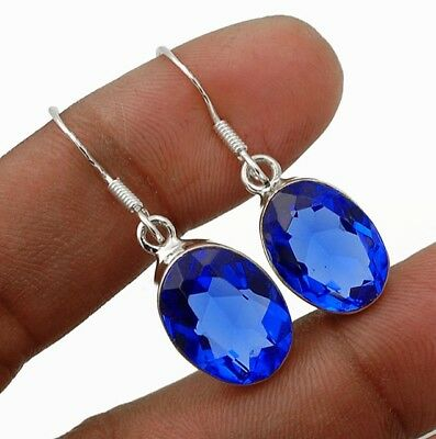"""12CT Sapphire 925 Solid Sterling Silver Earrings Jewelry 1 1/3"""" Long"""