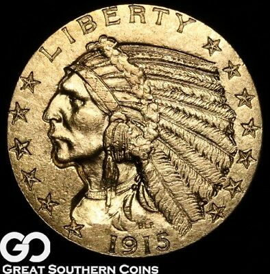 1915 Half Eagle, $5 Gold Indian, Choice Uncirculated ** Free Shipping!