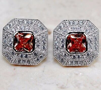 6CT Padparadscha Sapphire & Topaz 925 Solid Sterling Silver Earrings Jewelry