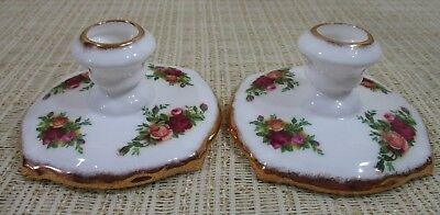 2X Royal Albert Old Country Roses 2 Round Candlestick Candle Holder Made England