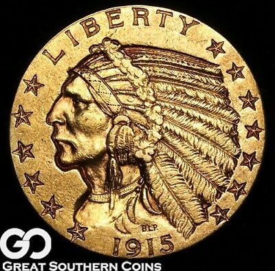 1915 Half Eagle, $5 Gold Indian, BU++ ** Free Shipping!