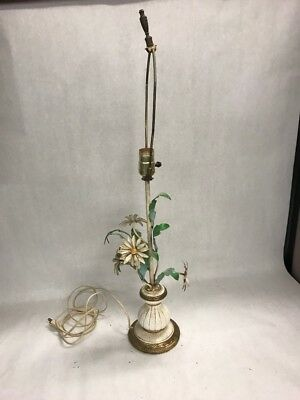 Vintage Tole Metal Lamp Roses Flowers  Base Garden Chic french Daisy Beach