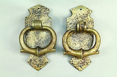 *Antique Arts-n-Crafts/Mission Period Hammered Bronze Pair Door Knockers