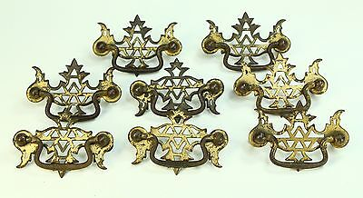 * Antique Set of 8 Brass Furniture Drawer Pulls Handles Chest of Drawers Comode