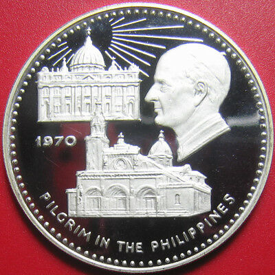 1970 Fujairah 10 Riyals Silver Proof Pope Paul Vi Visits Philippnes M=300 Coins!