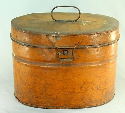 ! Antique Victorian Original Painted Tin Oval Hat Box Luggage Storage Steamer
