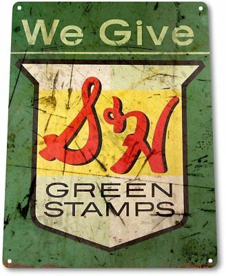 S&H Green Stamps Vintage Retro Tin Metal Sign