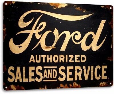 Ford Sales Service Vintage Retro Tin Metal Sign