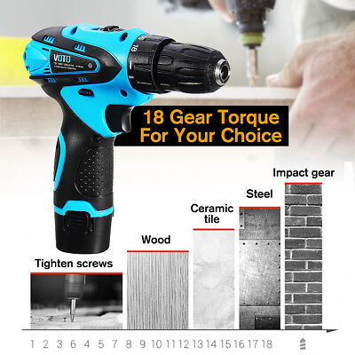 12V Cordless Electric Drill Driver Hand Kit Power Tool Screwdriver Rechargeable