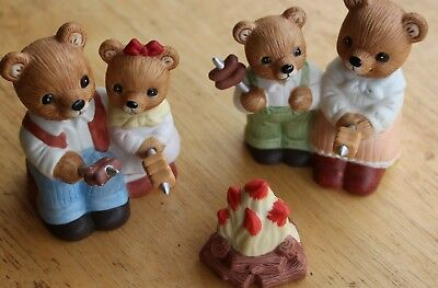 "Homco ""Campfire Bears""; #1446 (Set of 3 Items)"