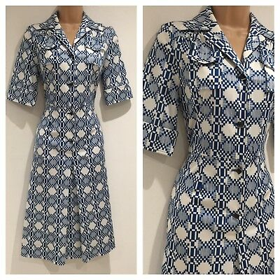 Japanese Vintage 70s Mod Teal & White Abstract Print Fit & Flare Day Dress 10-12