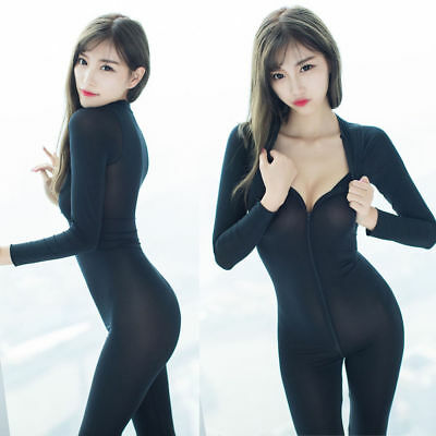 Damen Transparent Langarm Jumpsuit 2-wege Zipper Catsuit Overall Bodystocking
