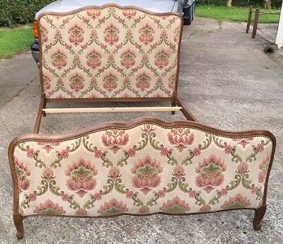 Antique / Vintage French Upholstered Double Bed (1013)