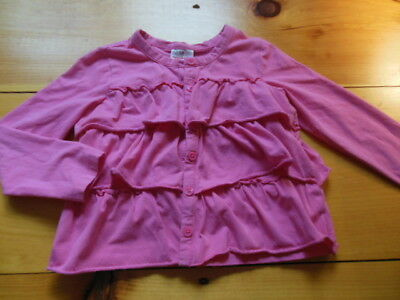 HANNA ANDERSSON 130 US 7-8 Pink Soft Cotton Ruffled Cardi Cardigan Top Button