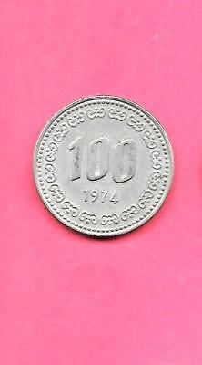 South Korea Korean Km9 1974 Vf-Very Fine-Nice Large Old 100 Won Coin