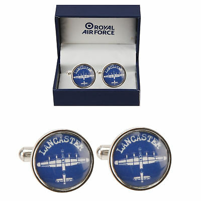 RAF Royal Air Force Lancaster Round Blue Cufflinks ~ Gift Boxed  RAF197