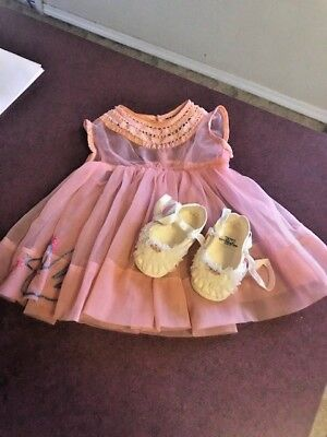 Vintage Baby Infant Doll Dress Sheer Pink duck embroidery Hand made w/ shoes