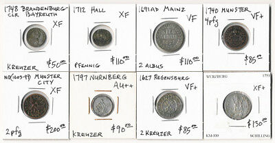 ## Must See ## 8 Old German Coins  (1603-1797) Very Nice Lot > No Reserve