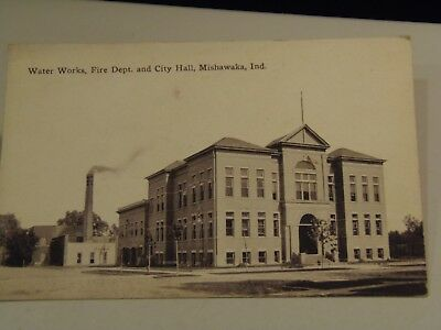 Water Works, Fire Department and City Hall, Mishawaka Indiana Postcard