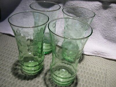 1930's Set Of 4 Large Green Depression Glass Tea Water Etched Tumblers Glasses