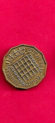 Great Britain Gb Uk 3 Pence Km900 1960 Vf-Very Fine-Nice Old Vintage Coin