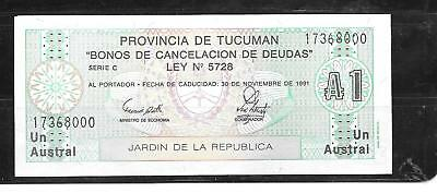 Argentina Tucuman Providence 1 Austral 1991 Mint Crisp Banknote Note Paper Money