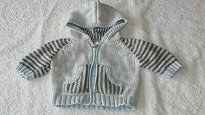 CARDIGAN Next Up To 1 Month BLUE BROWN HOODED Knitted Autumn Winter Baby Boy