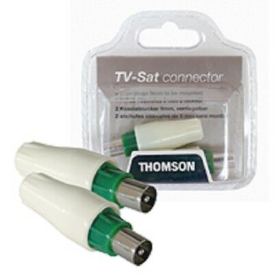 2x Thomson TV Sat connector Koaxialstecker verriegelbar # Thomson KBT440