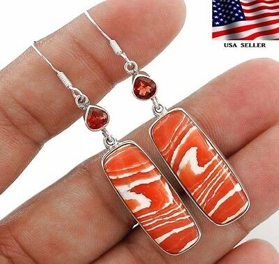 "8g Orange Opal 925 Solid Genuine Sterling Silver Earrings Jewelry 2 1/4"" A6-6"