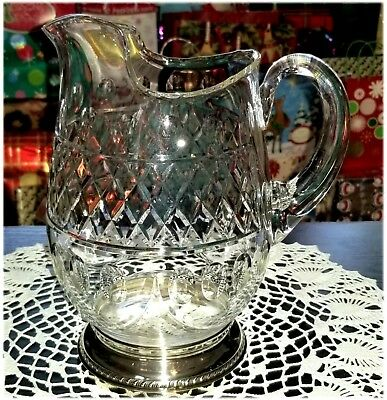 Vintage Crystal Glass Pitcher w/ Sterling Silver Base Numbered & Signed MM/G3