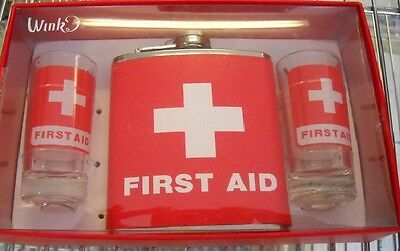Wink First Aid Hip Flask with Two Tall Shot Glasses Set Great Gift New in Box