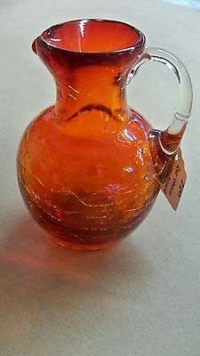 """Small Vintage Red Crackle Glass Pitcher With Applied Handle 4 1/4"""" Tall"""
