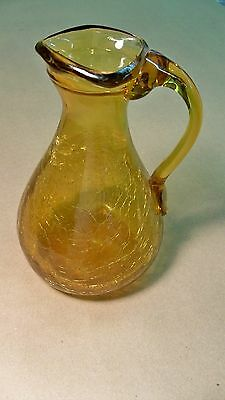 """Small Vintage Amber Crackle Glass Pitcher With Applied Handle 5 1/4"""" Tall"""