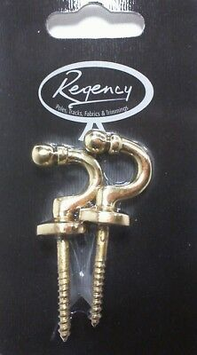 Regency Pair of Small Ball Brass Curtain Tie Hold Backs #9E102