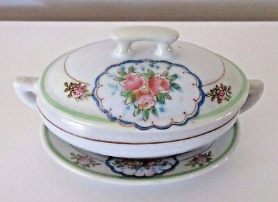 Vintage Child's Doll Dishes Soup Tureen & Platter Ironstone Roses Red Japan