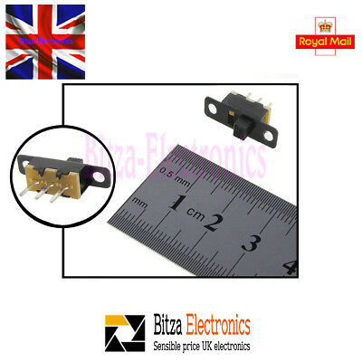 5x 30V 0.6 A Mini Size Black SPDT Slide Switch UK Seller