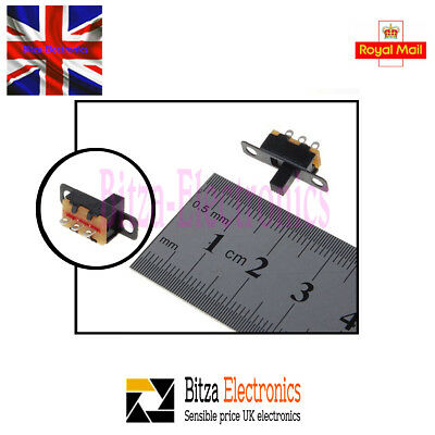 5x 50V 0.5 A Mini Size Black SPDT Slide Switch UK Seller