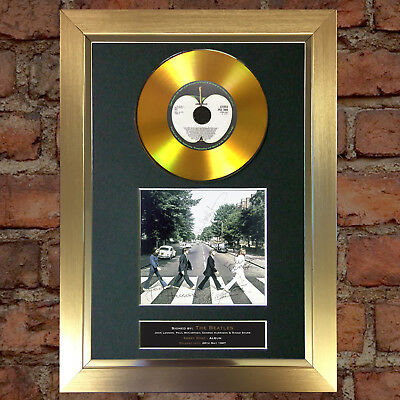 GOLD DISC THE BEATLES Abbey Road Signed Autograph Mounted Repro A4 #137