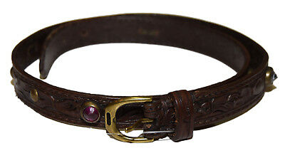 Polo Ralph Lauren Womens Tooled Leather Stone Stud Jewelry Bracelet Brown Gold