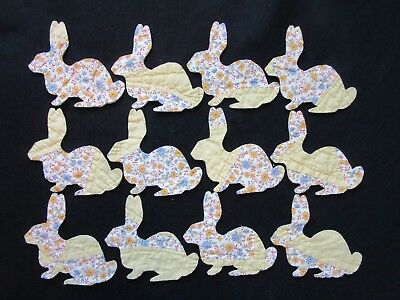 12 Large Vtg Primitive  Cutter Quilt Rabbits - Bunnies - Yellow/floral!