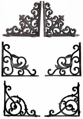 Pair Of Cast Iron Wall Brackets Shelf Vintage Victorian Antique Ornate Shelving