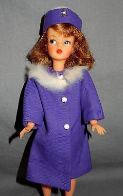 Gorgeous Vintage Purple Coat w/ Fur Trim and Box Hat Fits Tammy Tressy Misty